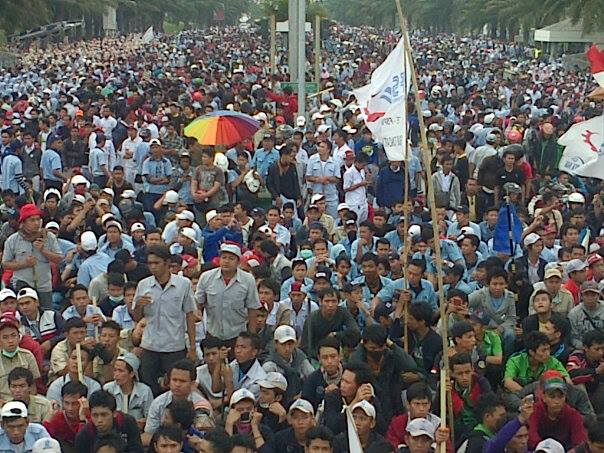 Workers at an assembly point at Day 2 of strike.